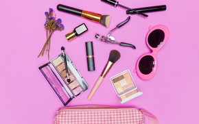 Picture makeup, lipstick, glasses, shadows, Cosmetics