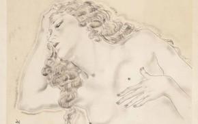 Picture female breast, 1930, Tsuguharu Foujita, the photogravure, Sleeping blonde