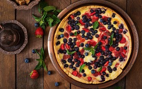 Picture berries, blueberries, strawberry, pie, mint, cakes, sweet, Timolina