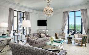 Picture design, table, sofa, furniture, room, chandelier, the hotel, Design, chic, living room, Suite, room, Living