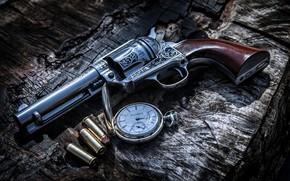 Picture Gun, Bullets, Weapon, Clock