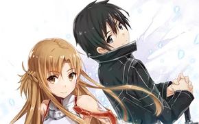 Picture look, anime, art, guy, Sword art online, Sword Art Online, Asuna, Kirito