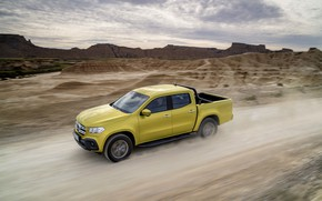 Picture mountains, yellow, movement, Mercedes-Benz, dust, pickup, relief, primer, 2017, X-Class