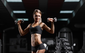 Picture blonde, pose, fitness, gym, abs