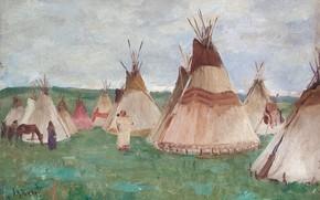 Picture horse, home, Joseph Henry Sharp, Glacier Park, Blackfoot