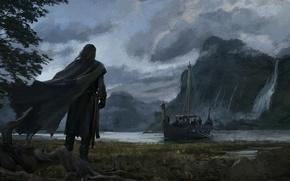 Picture mountains, lake, river, rocks, shore, boat, waterfall, warrior, art, cloak, the ship, rook, Аndrey Bakulin