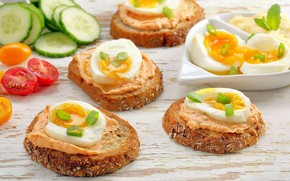 Picture eggs, cucumber, tomato, sandwiches, appetizer, pate