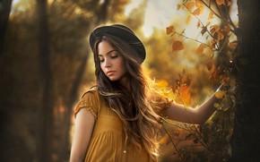 Picture autumn, hat, sponge, curls, Carmen Gabaldon