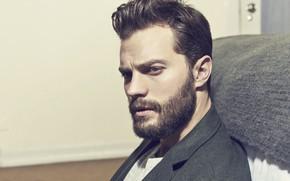 Wallpaper look, men, Jamie Dornan, beautiful, beard
