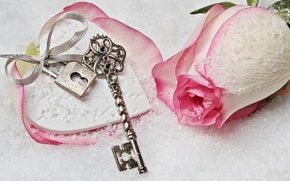 Picture love, rose, heart, winter, snow, key, romantic, lock