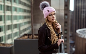 Picture look, girl, hat, view, portrait, makeup, jacket, hairstyle, blonde, balcony, bokeh