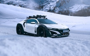 Picture Honda, Car, Mountain, Snow, White, NSX