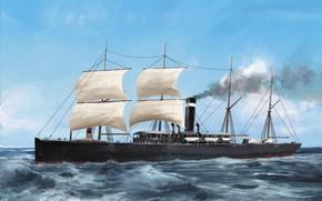 Picture belgenland, wave, ship, Transatlantic Ships