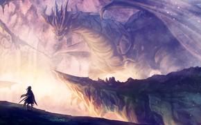 Wallpaper Girl, Dragon, Fantasy