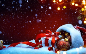 Wallpaper snow, decoration, holiday, gift, hat, ball, spruce