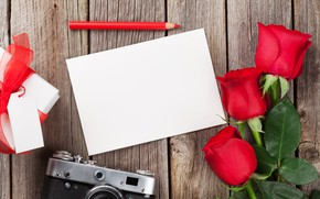 Picture love, flowers, gift, roses, bouquet, glasses, red, red, love, wood, flowers, romantic, Valentine's Day, gift, …