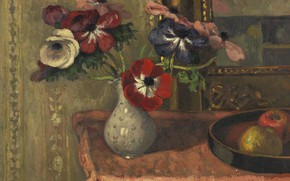Picture picture, Still life, Albert Andre, Albert Andre, Vase with Flowers and Fruit on the Table