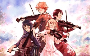 Picture music, violin, girls, anime, art, guy