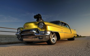 Picture Coupe, Yellow, 1956, Drag race, Cadilac Deville