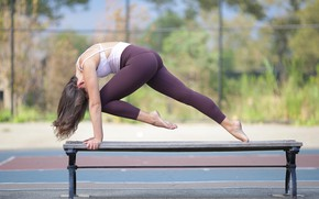 Picture girl, bench, pose, legs, gymnast