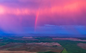 Picture clouds, hills, field, rainbow, horizon, USA, Washington