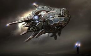 Picture fiction, art, Spaceship, Michal Kwolek