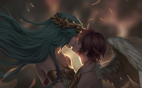 Picture wings, kiss, angel, fantasy, art, pair, Pit, Chuby Mi