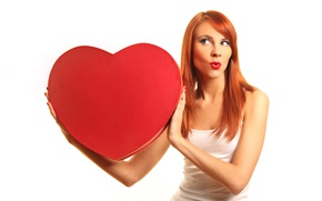 Wallpaper grimace, girl, white background, Mike, makeup, hairstyle, Valentine's day, red, redhead, heart, heart, pose