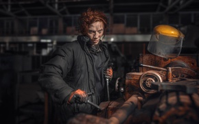 Picture girl, working, lathe, Chakhvadze, Bessarion