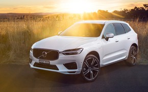 Wallpaper Volvo XC60, sunset, 2018, rays, the sun