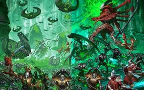 Picture army, eldar, battle, necrons, Warhammer 40 000, banshees, monolith, C'tan, ghost knight