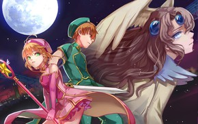 Picture night, girls, anime, art, guy, Card Captor Sakura, Sakura-collector cards