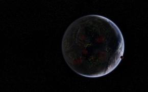 Picture space, fiction, planet, satellite, art, Coruscant, Serban Gabriel