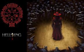 Picture weapons, characters, ambush, soldiers, Hellsing, pentagram, Hellsing, Alucard, black magic, environment