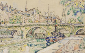Wallpaper watercolor, Paul Signac, bridge, figure, The Pont-Neuf. Paris