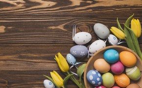 Picture flowers, Happy, spring, flowers, eggs, the painted eggs, tulips, tulips, Easter, Easter, wood, colorful, decoration, …