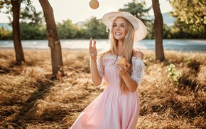 Picture road, grass, the sun, trees, joy, nature, smile, mood, hat, makeup, dress, hairstyle, blonde, beauty, …