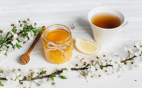 Picture flowers, branches, lemon, tea, honey