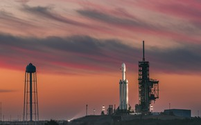 Wallpaper space, USA, twilight, sky, sunset, clouds, evening, Florida, rocket, SpaceX, Cape Canaveral, launch pads, Falcon ...