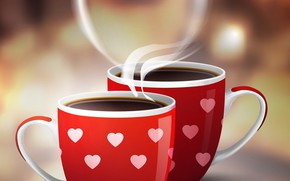 Picture couples, Cup, heart, Valentine's Day, coffee, coffee