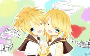 Picture children, anime, art, two, Vocaloid, Vocaloid, characters