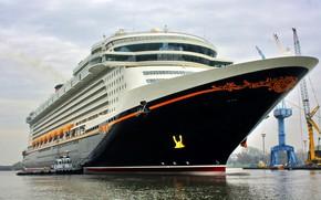 Picture Sea, Liner, Board, The ship, Disney, Passenger, Cranes, Dream, Tank, Passenger liner, Tug, Disney Dream, …
