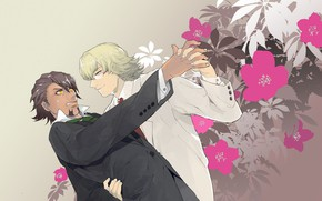 Picture flowers, dance, art, guys, Tiger and Bunny