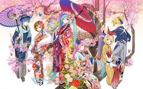 Picture girl, flowers, tree, bird, butterfly, umbrella, rabbit, guy, kimono, vocaloid, Hatsune Miku, bow, Kagamine Rin, …