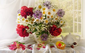 Wallpaper in Durban, cherry, cake, bouquet, peonies, chamomile