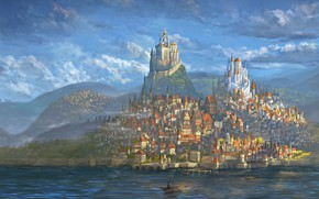 Picture City, World, Fantasy, Art, Fantastic, Castle, Paint, Medieval, DeviantArt, Town, Painting, Architectural, Castles, Middle age