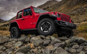 Picture mountains, red, stones, 2018, Jeep, Wrangler Rubicon