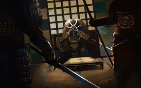 Picture weapons, warriors, equipment, samurai stance