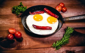 Picture greens, creative, table, eggs, smile, pepper, scrambled eggs, tomatoes, pan