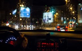 Wallpaper glass, drops, macro, light, movement, rain, excerpt, blur, devices, backlight, the wheel, traffic, car, salon, ...